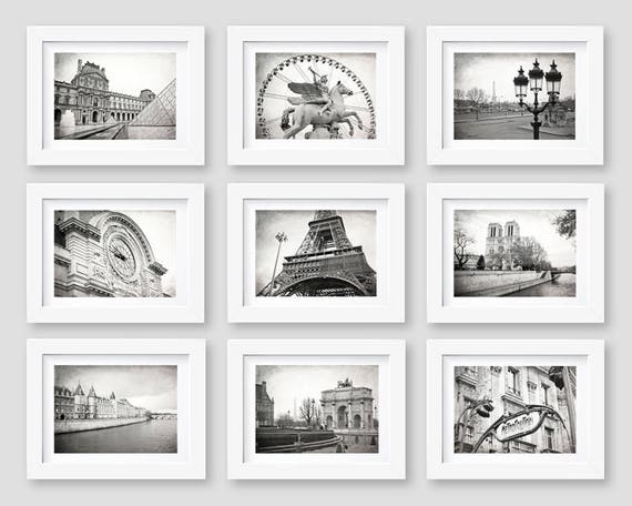 Paris Wall Art Paris Print Set Black And White Photography Etsy