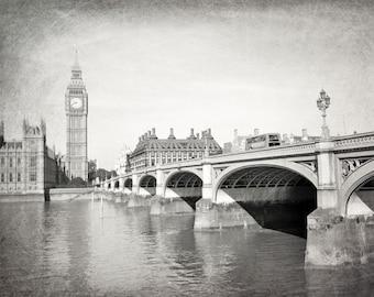 London Photography, Big Ben, Westminster Bridge, Black and White, Fine Art Print, Travel Photography, London Decor, Europe, Wall Art