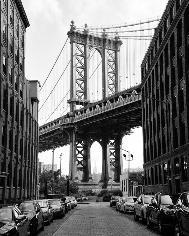 Manhattan Bridge New York Print Black And White Photography Etsy