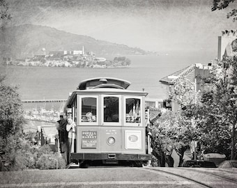 San Francisco Cable Car Print, California Photography, Black and White, Alcatraz, Transportation, Streetcar, Fine Art Print, Travel Decor