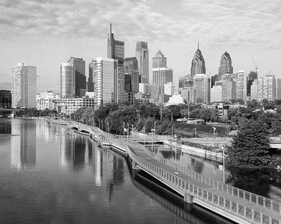 Philadelphia Skyline Philadelphia Print Philly Black And Etsy