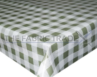 Olive Green Gingham Checkered Squares PVC Vinyl Tablecloth Dining Kitchen  Table Protector Cover