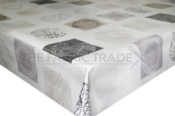 Neutral Artistic Shapes PVC Vinyl Tablecloth Dining Kitchen Table Protector  Cover