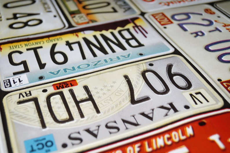 Car Licence Plate American PVC Vinyl Tablecloth Dining Kitchen Table Protector Cover
