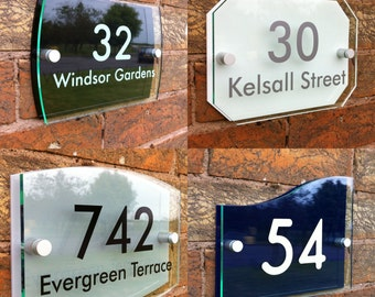 Personalised Modern House Sign Door Number Street Address Glass Effect Acrylic Plaque
