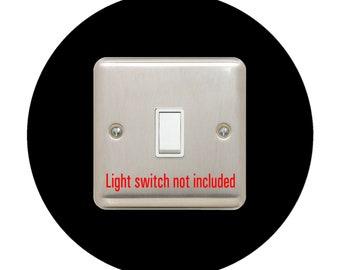 single LIGHT SWITCH SURROUND   round   acrylic back panel or finger plate   plug