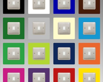 Light Switch Surround    Square / Single     16 COLOURS to choose from     3mm Thick Perspex     40mm Border     Free UK Delivery