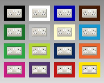 Double Socket Surround, square acrylic back panel finger plate, decorative frame for neat and tidy finish