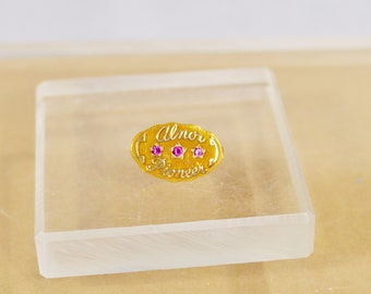 Rare Vintage 14K Alnor Company Service Award Pin, Tie Tack with Rubys