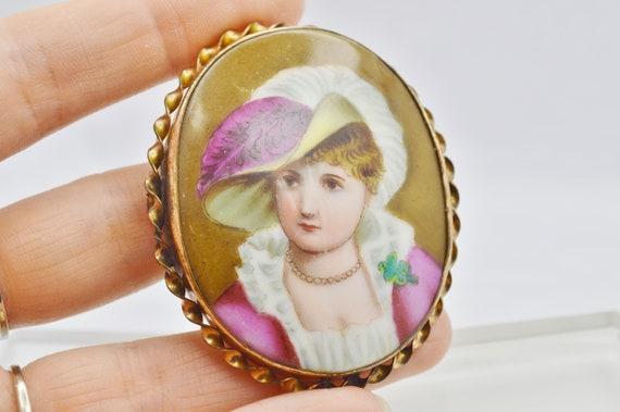 Victorian Hand Painted Porcelain Brooch-Antique Large Portrait Brooch