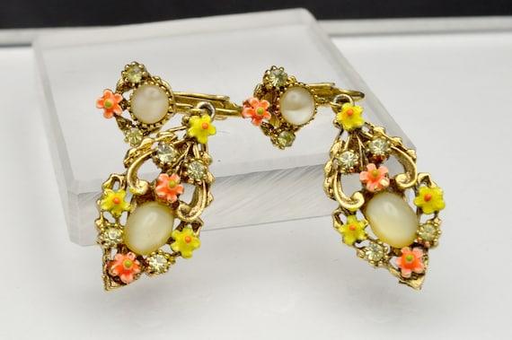Vintage Signed ART Bracelet Earrings Pink Moonglow Glass Cabochon Rhinestone Enamel Fleur de Lis