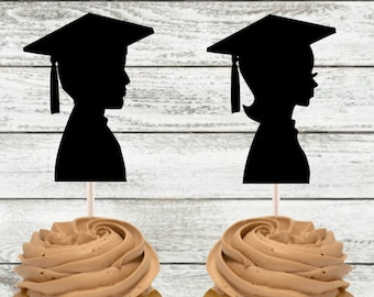 Graduate Cupcake Toppers / High School Graduation / College Graduation / Girl Graduate / Boy Graduate /Graduation Party