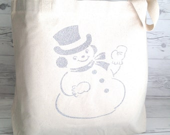 Printed Canvas Tote Bag: Vintage Snowman / Glittery Silver