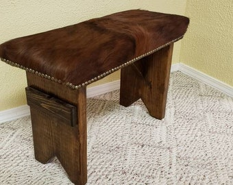 COWHIDE BENCH 27 L X 11 D X 18 Inch H With Quality Cowhide Leather U0026 Wood  Stool Western Home Decor # 673