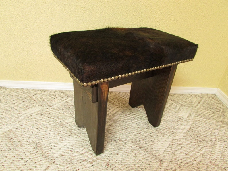 Excellent Cowhide Bench Vanity Stool 20 X 11 D X 18 Inch H With Quality Cowhide Leather Wood Stool Western Home Decor 894 Alphanode Cool Chair Designs And Ideas Alphanodeonline