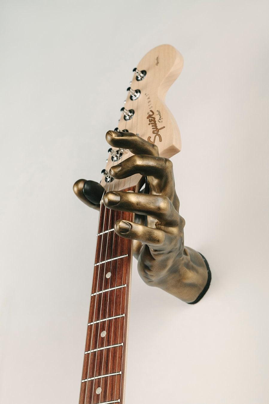 antique brass left hand guitar hanger unique guitar accessory etsy. Black Bedroom Furniture Sets. Home Design Ideas