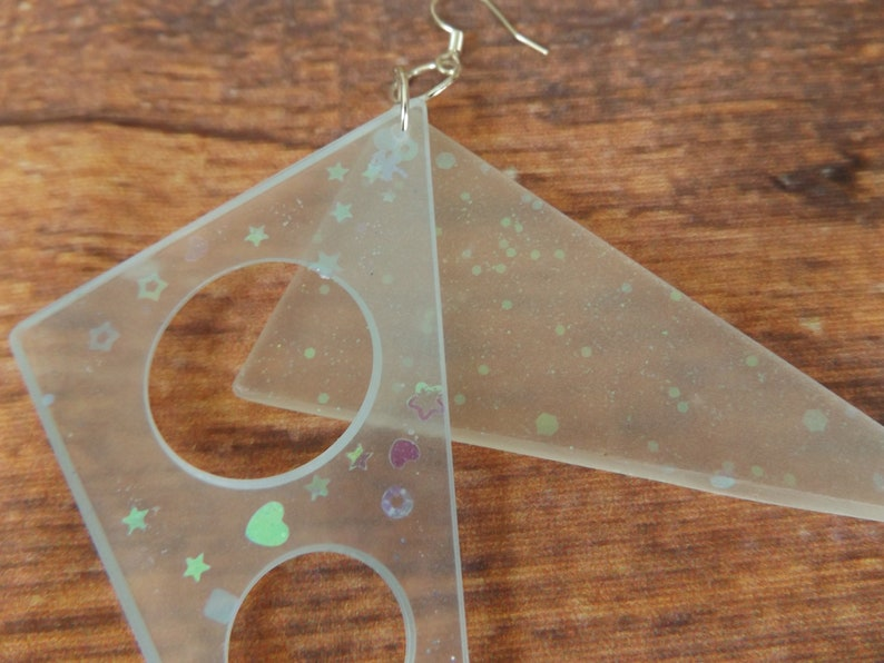 Futuristic Earrings Space Madness French Hook GLOW In The DARK Space Age Neon Triangle UV Ultra Violet Glitter Fluoro Rave Teknival Doof