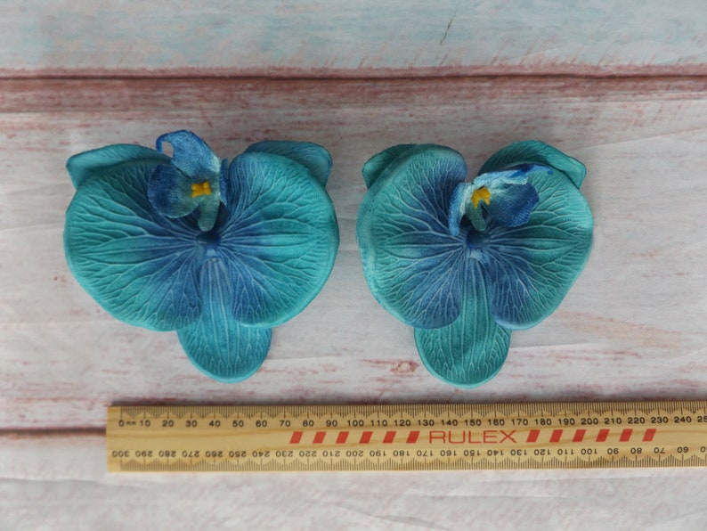 Flowers Tiki Pinup Rockabilly Faux Floral Tropical Clips Duo Beach Party Hawaiian Floral Lily Pad Orchids Clip On Hair BLUE Pair 2 Items