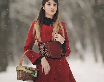 Maxi red ribbed velvet dress and underbust corset/Fantasy dress/Medieval dress