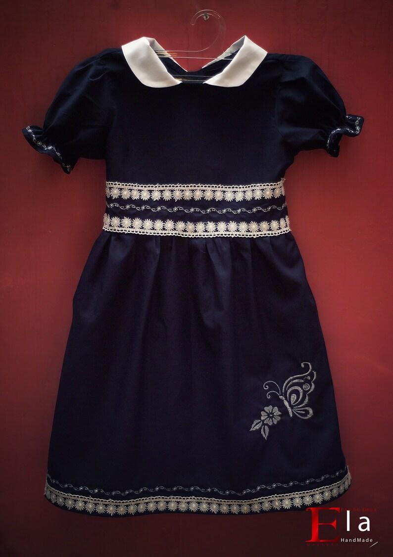 Navy butterfly dress for girlsLittle princess dressChristmas baby girl dress