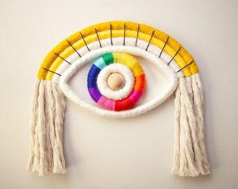 Fiber Sculpture Eye Wallhanging in Rainbow