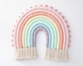 Pastel Large Fiber Rainbow Wall Hanging with Pom Poms