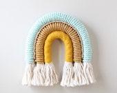 """Fiber Art Rainbow """"Minty Fresh"""" Wall Art Nursery Textiles Macrame"""