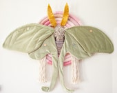 """Fiber Art Luna Moth and Night Rainbow Wallhanging with Floral Detail """"Daisy"""""""