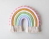 Sweet Pastel Medium Fiber Rainbow Wall Hanging with Pom Poms