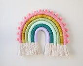 Fiber Rainbow Colorful with Pom Poms Wall Hanging