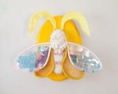 """Sequined Moth """"Butterscotch""""  Wall Hanging Fiber Entomology Art"""