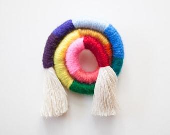 Miniature Fiber Rainbow Swirl PIN Fiber Jewelry