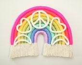 """Fiber Rainbow Bright and Colorful """"Super Sweet Love, Peace and Moonbeams"""" Wall Hanging"""