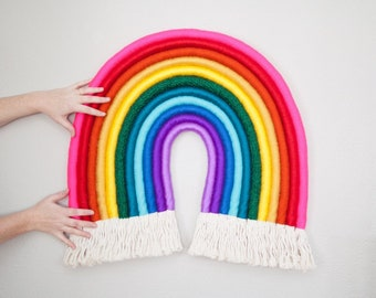 Vibrant Rainbow  XL - Saturated and Neon Hues Fiber Rainbow Art Wall Hanging Statement CUSTOM AVAILABLE