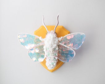 Etsy Design Awards Finalist 2021 Sequined Moth Wall Hanging Fiber Entomology Art