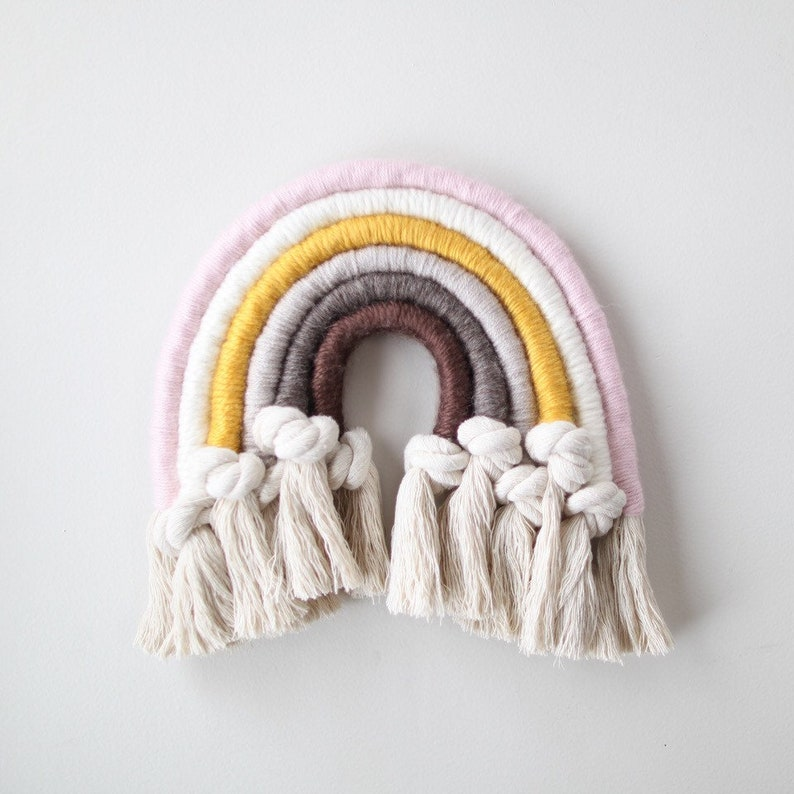 043c02e802505 Neutral and Knotted Fiber Rainbow Wall Hanging