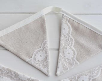 Lace Bunting Linen and Lace Garland