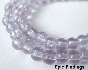 Sale!! Violet Smooth Round 4mm Glass Beads, Spacer Beads, Purple Glass Beads, DIY Jewelry Design, Craft Supply, Epic Findings