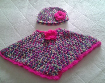 crochet girl poncho, poncho and hat 6-12 months, girl poncho, crochet girl poncho, baby girl poncho,crochet poncho hat, crochet poncho