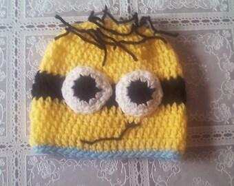 Crochet minion hat , newborn minion hat, boy minion hat, crochet minion hat ,baby boy hat ,newborn boy hat