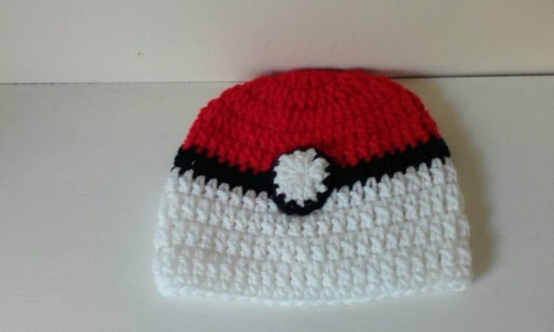 newborn pokeball hat Crochet pokeball hat pokeball hat teen pokeball hat ready to ship baby pokeball hat young teen pokeball hat