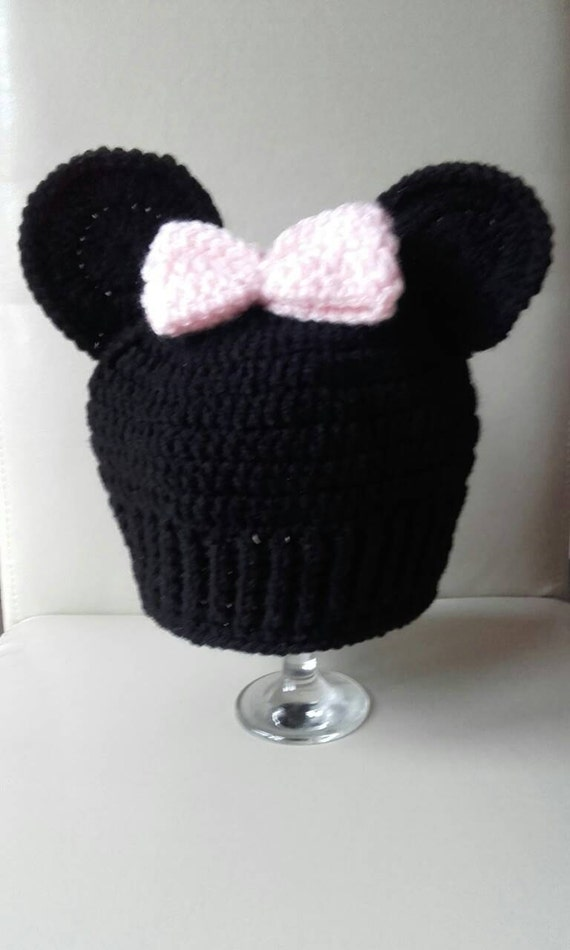 Minnie mouse hat, Crochet mouse hat, baby girl Minnie hat, Minnie mouse,  baby beanie hat, ready to ship