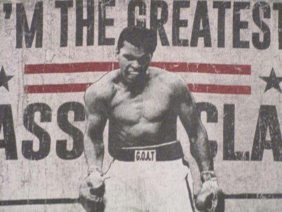 Muhammad Ali Cassius Clay Vintage Logo Men/'s T Shirt Boxing Legend USA Champion