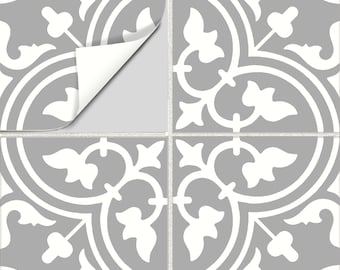 Tile Stickers Vinyl Decal WATERPROOF REMOVABLE for kitchen bath wall floor or stair: M028 gray