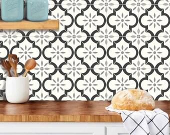 Tile Stickers for Floor, Kitchen Backsplash Bath Removable Waterproof: A52B