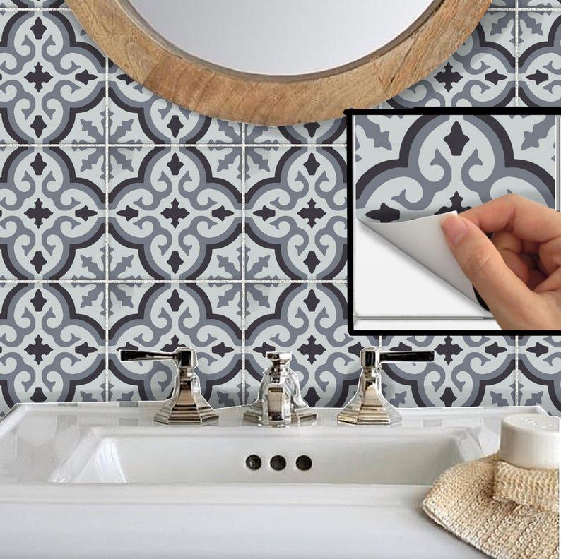 tile sticker for kitchen backsplash bathroom floor removable   etsy