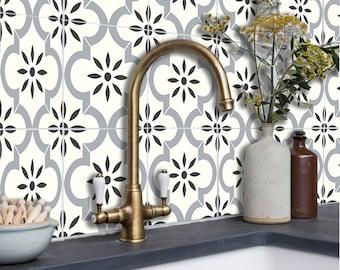 Tile Stickers for Floor, Kitchen Backsplash Bath Removable Waterproof: A52G Gray