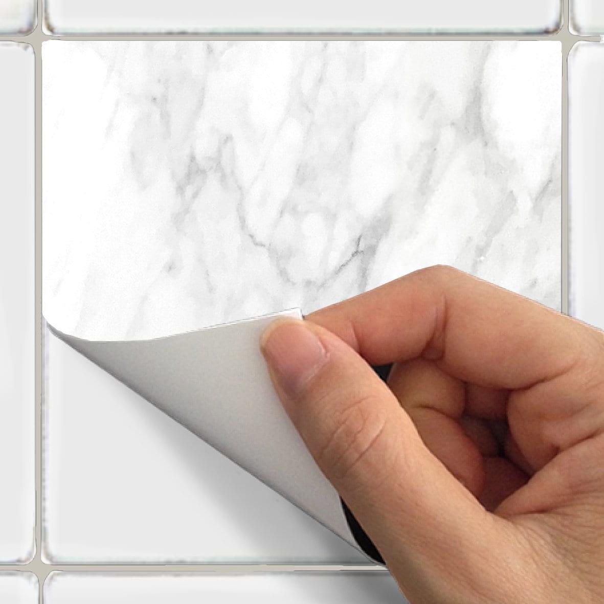 Kitchen bathroom Tile Decals Vinyl Sticker : White Marble | Etsy