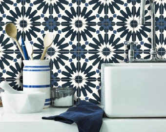 Floor Tile Stickers Vinyl Decal WATERPROOF REMOVABLE for kitchen bath A87 Navy