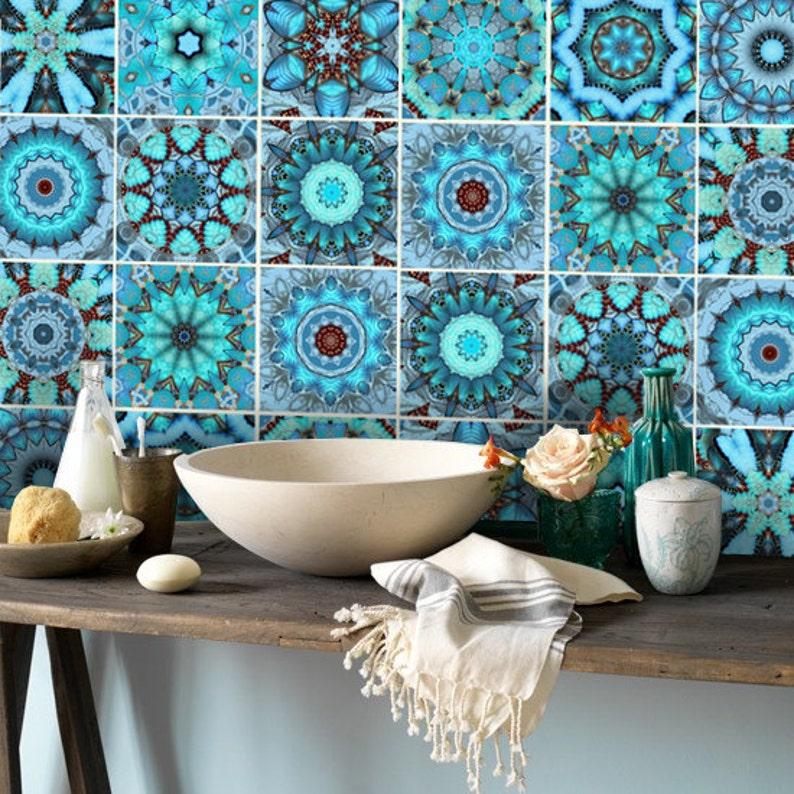 wall tile decals vinyl sticker waterproof tile or wallpaper | etsy